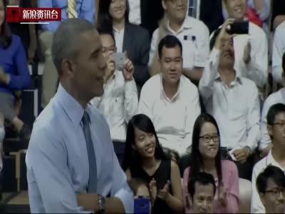 奥巴马与青年互动秀口技 为越南说唱天后打拍子