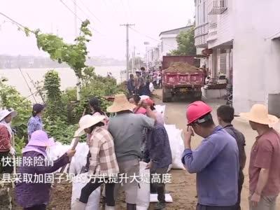 彭泽:河水上涨迅猛 千名干群上堤铸坝排险