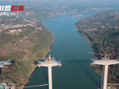 航拍广安过境高速渠江特大桥项目建设现场