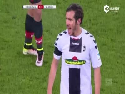 勒沃库森1-1弗赖堡 小豌豆失点恰尔汗奥卢建功