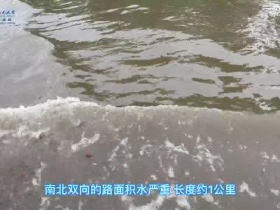 郑州金岱路积水严重 最深处没过成人膝盖